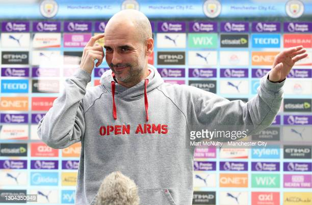 Pep Guardiola, Manager of Manchester City speaks during an interview prior to the Premier League match between Manchester City and West Ham United at...
