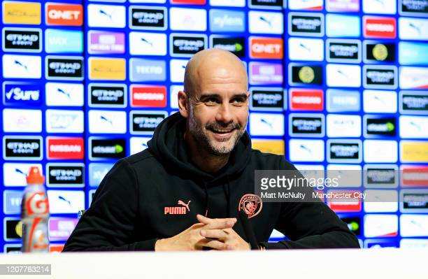 Pep Guardiola manager of Manchester City speaks to the media during a press conference at Manchester City Football Academy on February 21 2020 in...