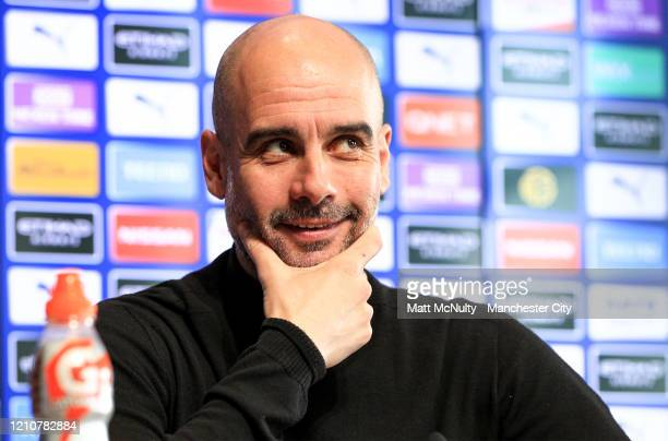 Pep Guardiola Manager of Manchester City speaks to the media during a press conference at Manchester City Football Academy on March 06 2020 in...