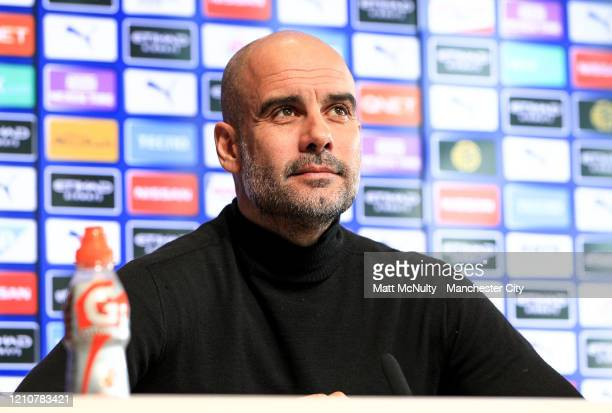 Pep Guardiola, Manager of Manchester City speaks to the media during a press conference at Manchester City Football Academy on March 06, 2020 in...