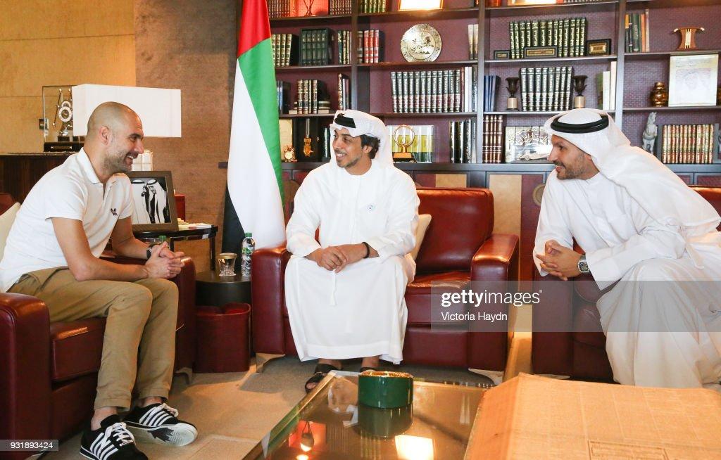 Pep Guardiola meets HH Sheikh Mansour bin Zayed Al Nahyan and Manchester City chairman Khaldoon Al Mubarak at the Presidential Affairs Office in Abu Dhabi : News Photo