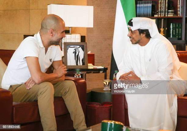 Pep Guardiola meets HH Sheikh Mansour bin Zayed Al Nahyan at the Presidential Affairs Office in Abu Dhabi on March 14 2018 in Abu Dhabi United Arab...