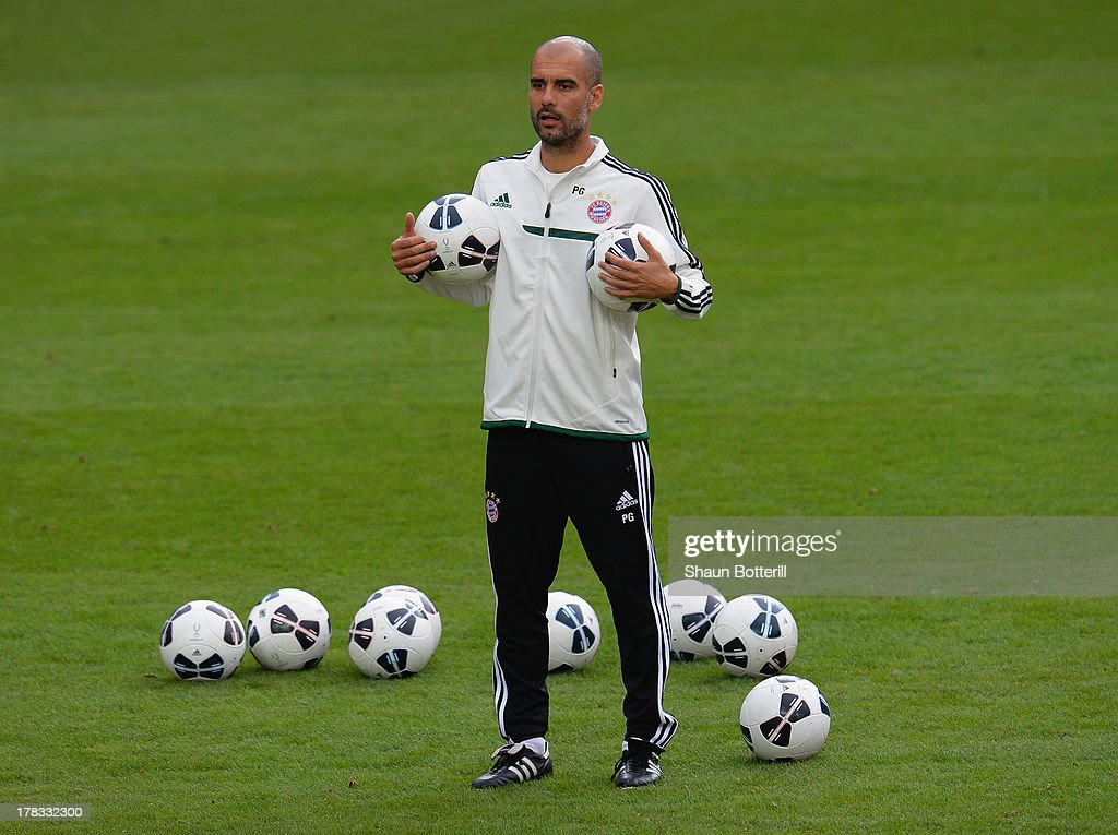 Pep Guardiola the FC Bayern Munchen coach during a training session prior to the UEFA Super Cup match between FC Bayern Munchen and Chelsea at Stadion Eden on August 29, 2013 in Prague, Czech Republic.