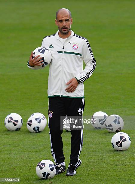 Pep Guardiola the FC Bayern Munchen coach during a training session prior to the UEFA Super Cup match between FC Bayern Munchen and Chelsea at...
