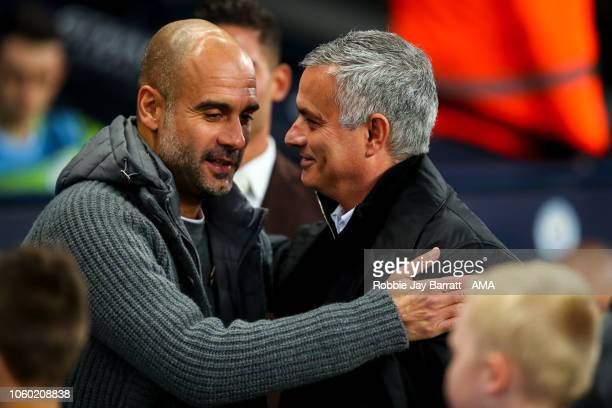 Pep Guardiola the head coach / manager of Manchester City and Jose Mourinho the head coach / manager of Manchester United during the Premier League...