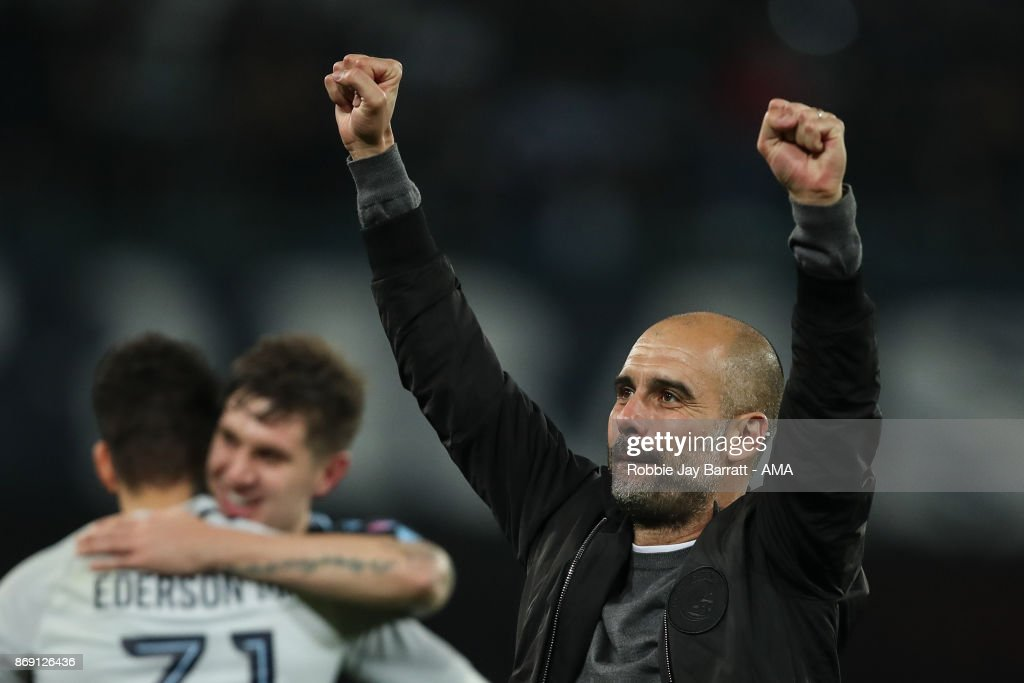 Pep Guardiola the head coach / manager of Manchester City celebrates at full time during the UEFA Champions League group F match between SSC Napoli and Manchester City at Stadio San Paolo on November 1, 2017 in Naples, Italy.