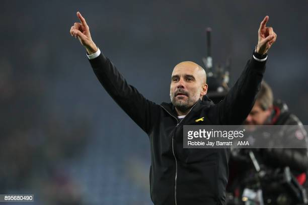 Pep Guardiola the head coach / manager of Manchester City celebrates during the Carabao Cup QuarterFinal match between here Leicester City v...
