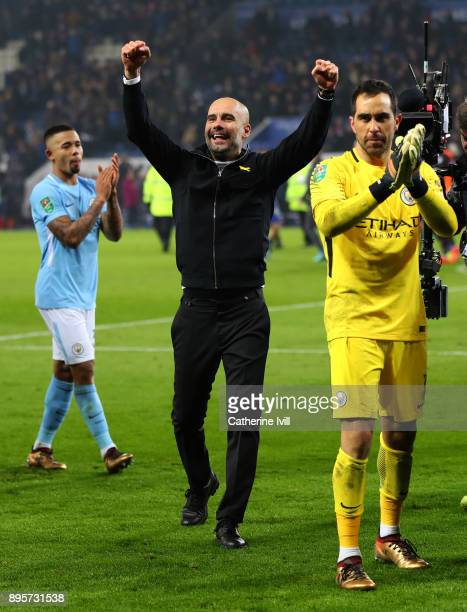 Pep Guardiola the head coach / manager of Manchester City celebrates during the Carabao Cup QuarterFinal match between Leicester City and Manchester...