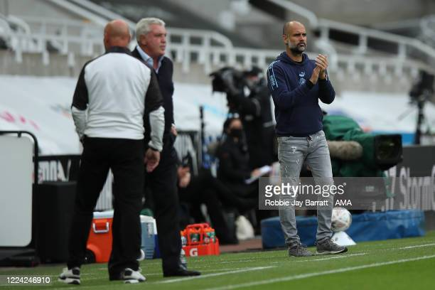Pep Guardiola the head coach / manager of Manchester City during the FA Cup Quarter Final match between Newcastle United and Manchester City at St...