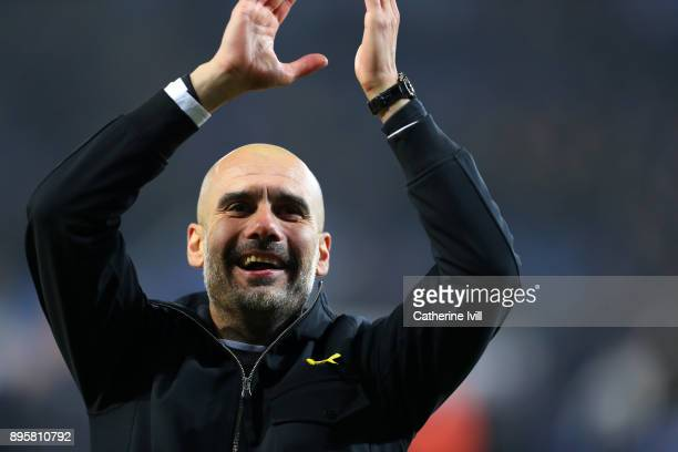 Pep Guardiola the head coach / manager of Manchester City during the Carabao Cup QuarterFinal match between Leicester City and Manchester City at The...