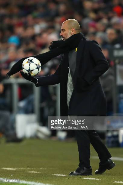 Pep Guardiola the head coach / manager of Manchester City during the UEFA Champions League Round of 16 First Leg match between FC Basel and...