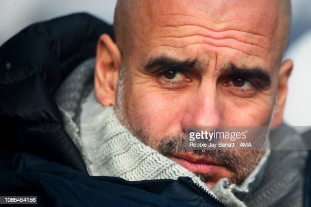 Pep Guardiola the head coach / manager of Manchester City prior to the Premier League match between Huddersfield Town and Manchester City at John...