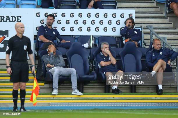 Pep Guardiola the head coach / manager of Manchester City reacts during the Pre Season Friendly between Manchester City and Preston North End at...