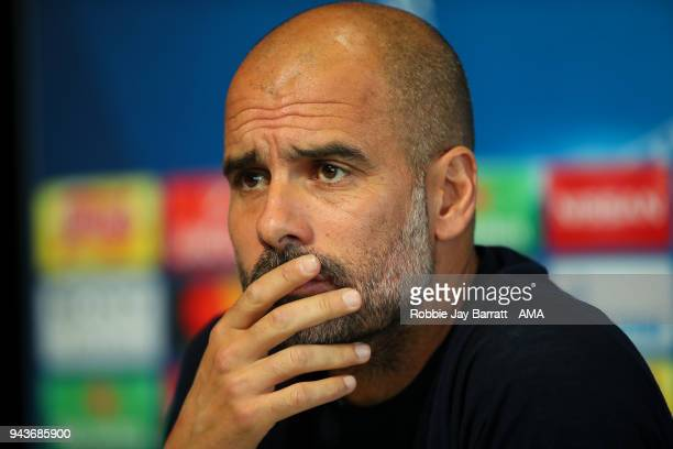 Pep Guardiola the head coach / manager of Manchester City talks to the press during a Press Conference and Training Session at Manchester City...