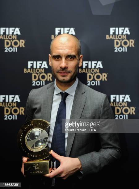 Pep Guardiola with his trophy after winning the FIFA World Coach of the Year for Men's Football award at the FIFA Ballon d'Or Gala 2011 at the...