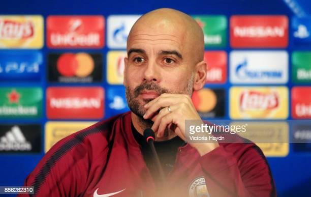 Pep Gurdiola during a Manchester City press conference on December 5 2017 in Kharkov Ukraine