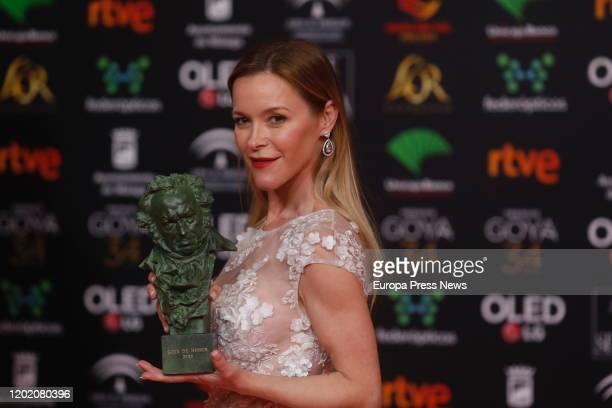 Pepa Flores' daughter Maria Estevez holds the honorific Goya Award during the 33rd edition of the Goya Cinema Awards at Jose Maria Martin Carpena...
