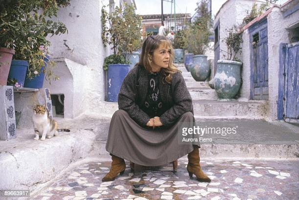 Pepa Flores Marisol actress Seated on a chair in the neighborhood of the Sacromonte