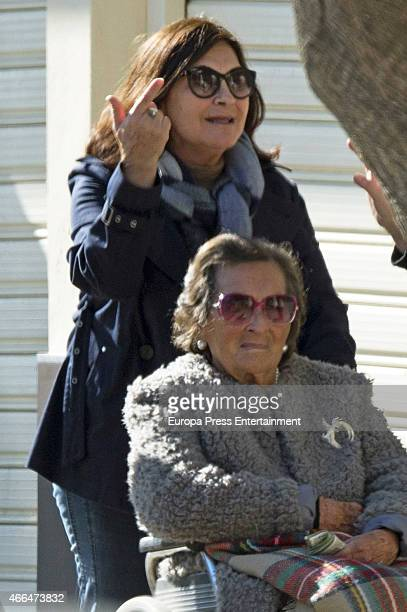 Pepa Flores's sister Maria Victoria Flores and her mother Maria Gonzalez celebrates Pepa Flores's 66th birthday on January 28 2015 in Malaga Spai