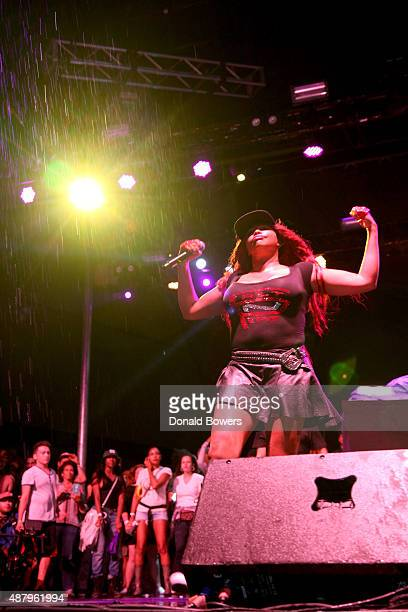 Pepa of Salt and Pepa perform at the Nickelodeon sponsored 90sFEST Pop Culture and Music Festival on September 12 2015 in Brooklyn New York