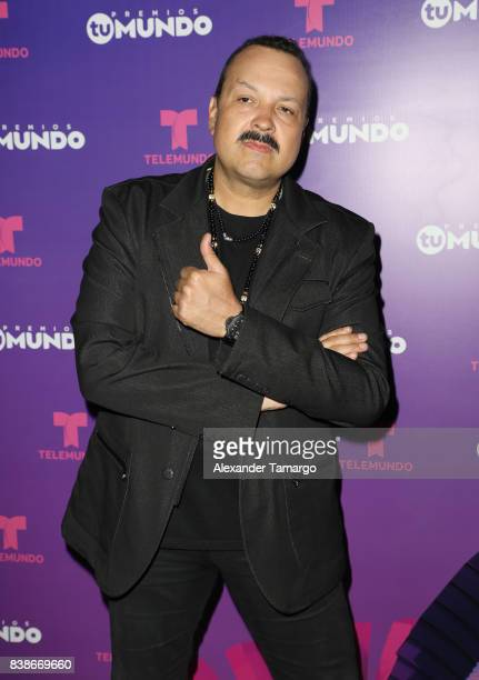Pepe Aguilar is seen in the press room during Telemundo's 'Premios Tu Mundo' at AmericanAirlines Arena on August 24 2017 in Miami Florida