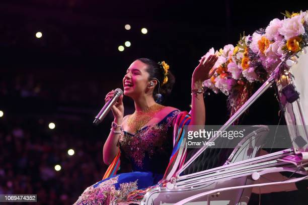 Pepe Aguilar's daughter Angela Aguilar performs during a concert as part of the 'Jaripeo Sin Fronteras' tour at American Airlines Center on November...