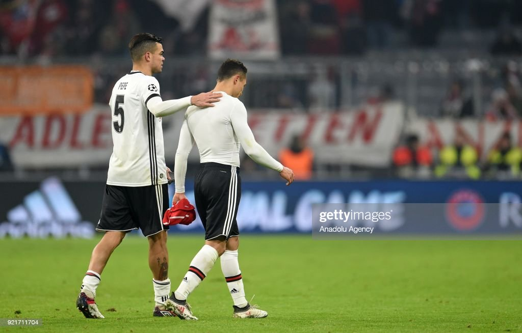 Pepe (L) and Adriano of Besiktas are seen after the UEFA Champions League Round of 16 soccer match between FC Bayern Munich and Besiktas at the Allianz Arena in Munich, Germany, on February 20, 2018.