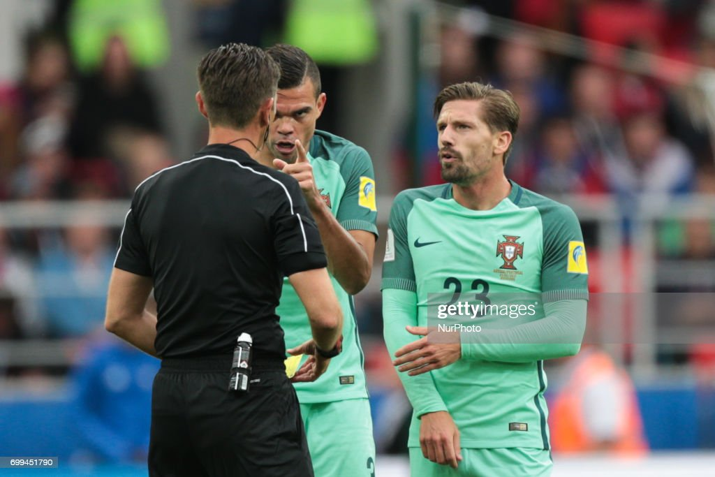 Pepe and Adrien Silva of the Portugal national football team reacts during the 2017 FIFA Confederations Cup match, first stage - Group A between Russia and Portugal at Spartak Stadium on June 21, 2017 in Moscow, Russia.
