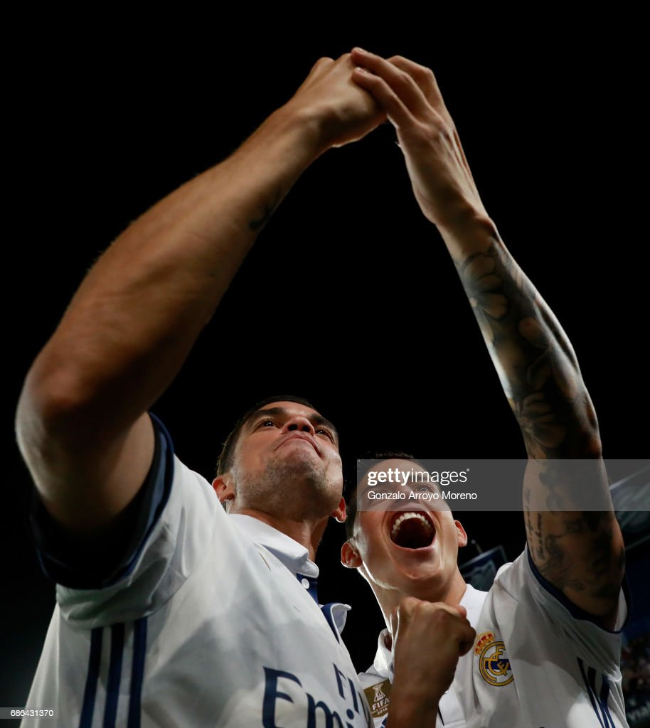 Pepe and James Rodriguez of Real Madrid take a selfie in celebration as they are crowned champions following the La Liga match between Malaga and Real Madrid at La Rosaleda Stadium on May 21, 2017 in Malaga, Spain.