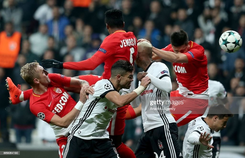 Pepe (left 2) and Talisca (left 4) of Besiktas in action against Jemerson (left 3) of Monaco during a UEFA Champions League Group G match between Besiktas and Monaco at the Vodafone Park in Istanbul, Turkey on November 01, 2017.