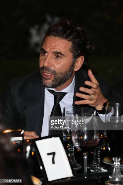 Pepe Baston speaks during the amfAR gala dinner at the house of collector and museum patron Eugenio López on February 5 2019 in Mexico City Mexico
