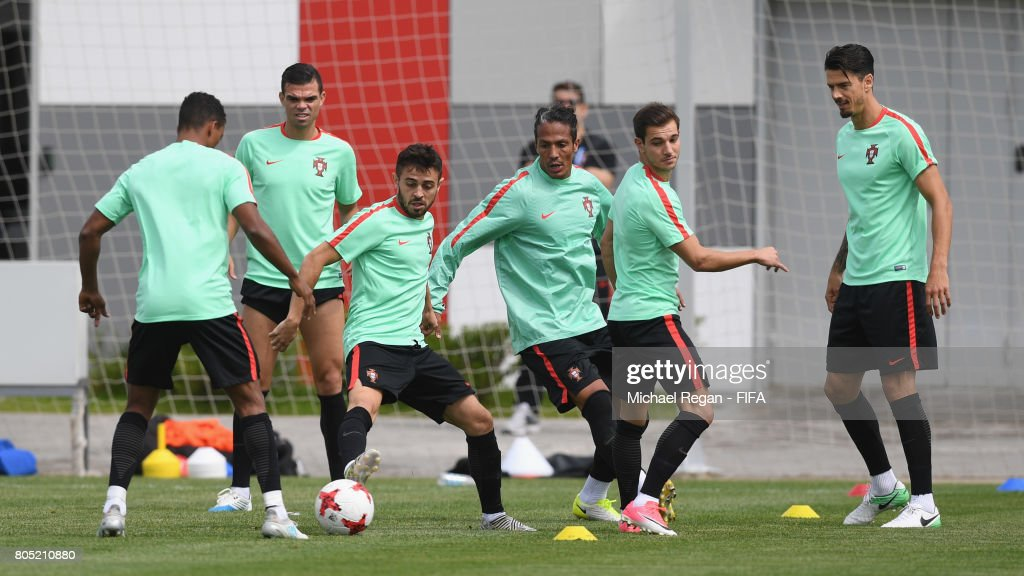 Pepe, Bernando Silva, Bruno Alves, Cedric Soares and Jose Fonte in action during the Portugal training session on July 1, 2017 in Moscow, Russia.