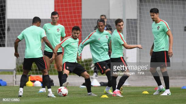 Pepe Bernando Silva Bruno Alves Cedric Soares and Jose Fonte in action during the Portugal training session on July 1 2017 in Moscow Russia