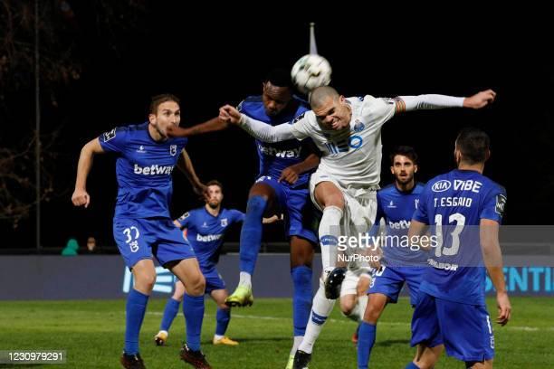 Pepe head kick near the goal during the game for Liga NOS between Belenenses SAD and FC Porto, at Estdio Nacional, Lisboa, Portugal February, 2021