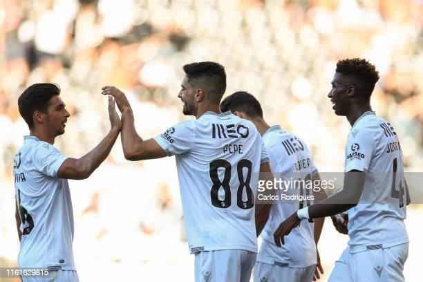 Pepe Henriques of Vitoria SC celebrates scoring Vitoria SC sixth goal with his team mates during the match Vitoria SC v FK Ventspils UEFA Europa...