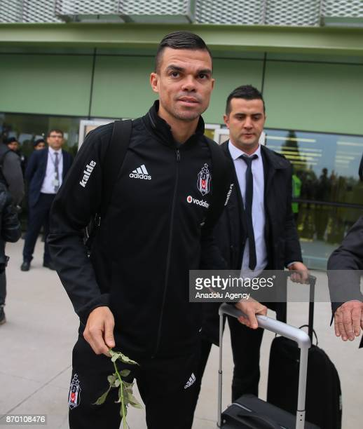Pepe is seen during the arrival of Besiktas team in Izmir for the Turkish Super Lig match against Goztepe at Adnan Menderes Airport in Izmir Turkey...