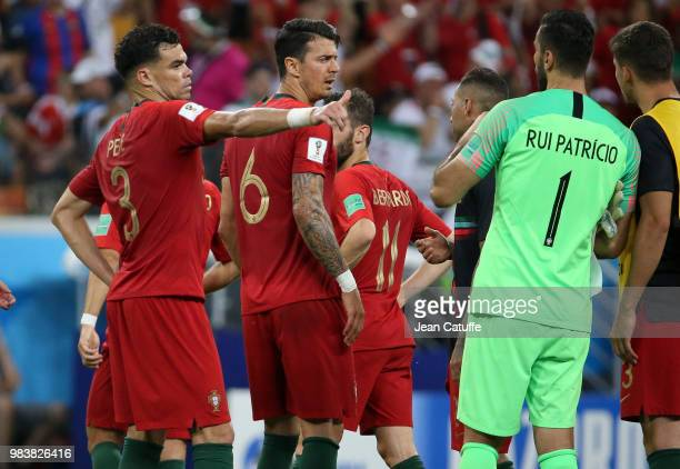 Pepe Jose Fonte goalkeeper of Portugal Rui Patricio celebrate the victory following the 2018 FIFA World Cup Russia group B match between Iran and...