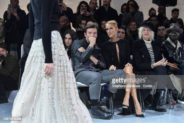 Pepe Munoz and Celine Dion attend the Alexandre Vauthier Haute Couture Spring Summer 2019 show as part of Paris Fashion Week on January 22 2019 in...