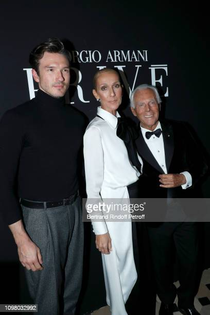 Pepe Munoz Celine Dion and Giorgio Armani attend the Giorgio Armani Prive Haute Couture Spring Summer 2019 show as part of Paris Fashion Week on...