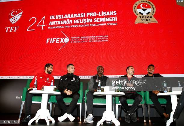 Pepe of Besiktas Arouna Kone of Demir Grup Sivasspor and Samuel Eto'o of Antalyaspor participate in a panel titled 'Turkish and European Coach Regard...