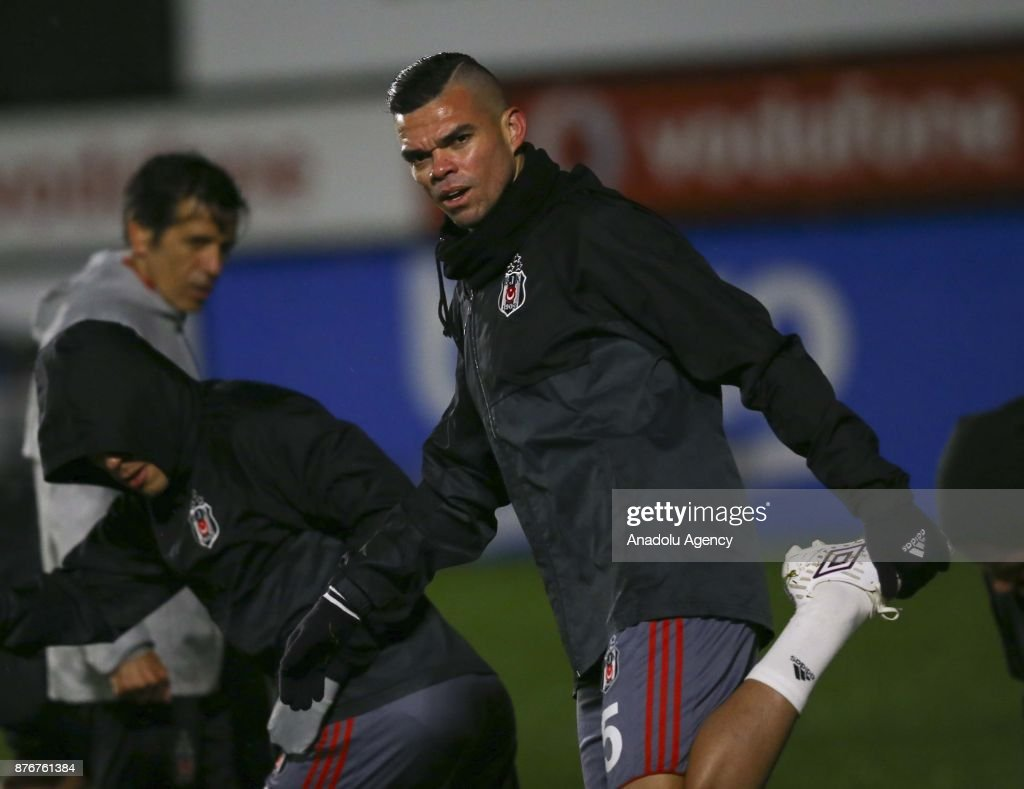 Pepe of Besiktas attends a training session ahead of UEFA Champions League Group G match between Besiktas and Porto at BJK Nevzat Demir Facilities in Istanbul, Turkey on November 20, 2017.