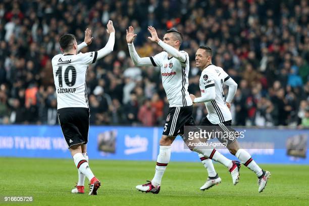 Pepe of Besiktas celebrates after scoring a goal during the Turkish Super Lig soccer match between Besiktas vs Kardemir Karabukspor at Vodafone Park...