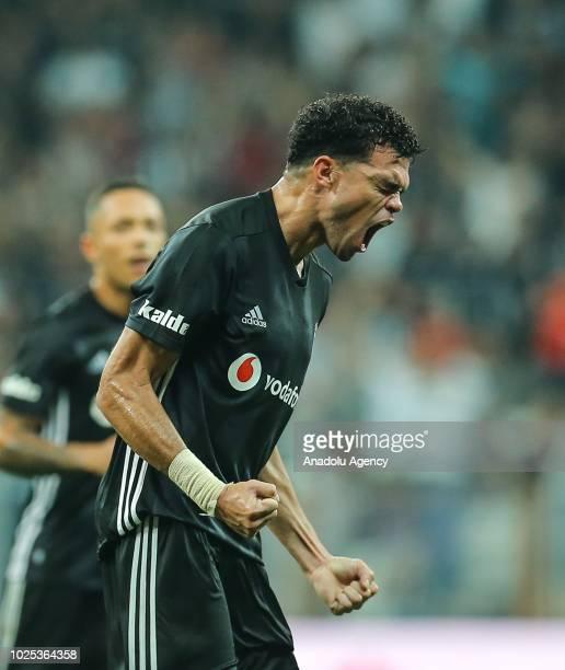 Pepe of Besiktas celebrates after scoring a goal during UEFA Europa League playoff second leg match between Partizan and Besiktas at Vodafone Park in...