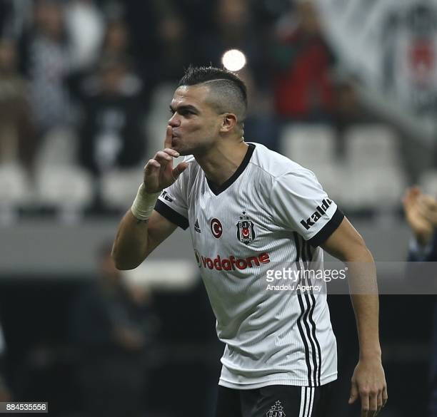 Pepe of Besiktas celebrates after the Turkish Super Lig match between Besiktas and Galatasaray at Vodafone Park in Istanbul Turkey on December 2 2017