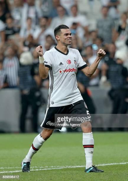 Pepe of Besiktas celebrates at the end of the Turkish Super Lig soccer match between Besiktas JK and Bursaspor at Vodafone Park in Istanbul Turkey on...