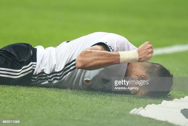 Pepe of Besiktas gestures during a Turkish Super Lig soccer match between Besiktas and Medipol Basaksehir at Vodafone Park in Istanbul Turkey on...
