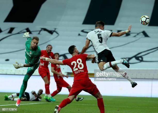 Pepe of Besiktas in action against Celustka of Antalyaspor during a Turkish Spor Toto Super Lig soccer match between Besiktas JK and Antalyaspor at...