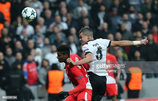 Pepe of Besiktas in action against Jemerson De Nascimento of Monaco during UEFA Champions League Group G match between Besiktas and Monaco at the...