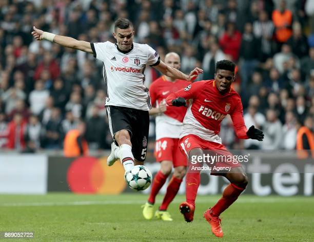 Pepe of Besiktas in action against Jemerson of Monaco during UEFA Champions League Group G match between Besiktas and Monaco at the Vodafone Park in...