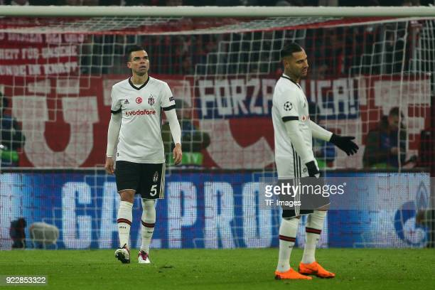 Pepe of Besiktas Istanbul and Ricardo Quaresma of Besiktas Istanbul looks dejected during the UEFA Champions League Round of 16 First Leg match...